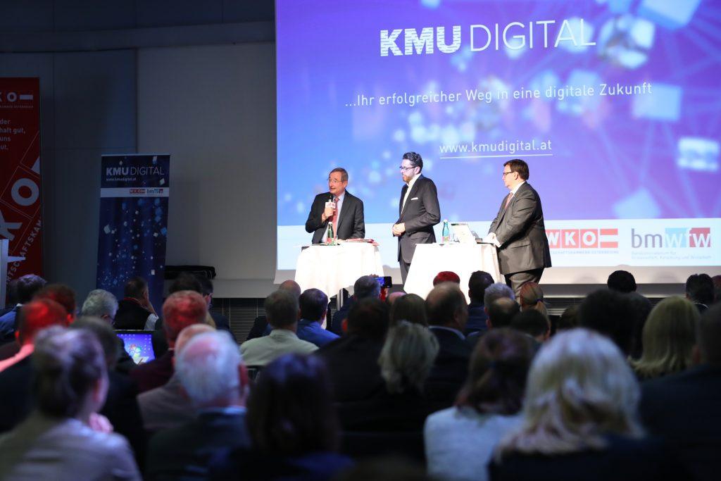 Stage during the presentation of KMU DIGITAL