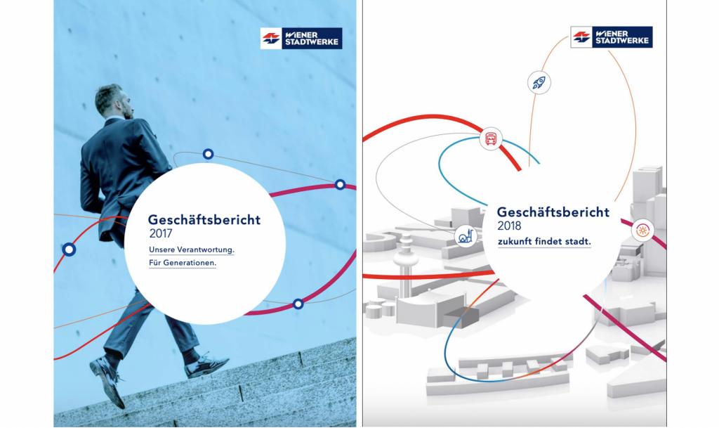 Cover der Geschäftsberichte der Wiener Stadtwerke