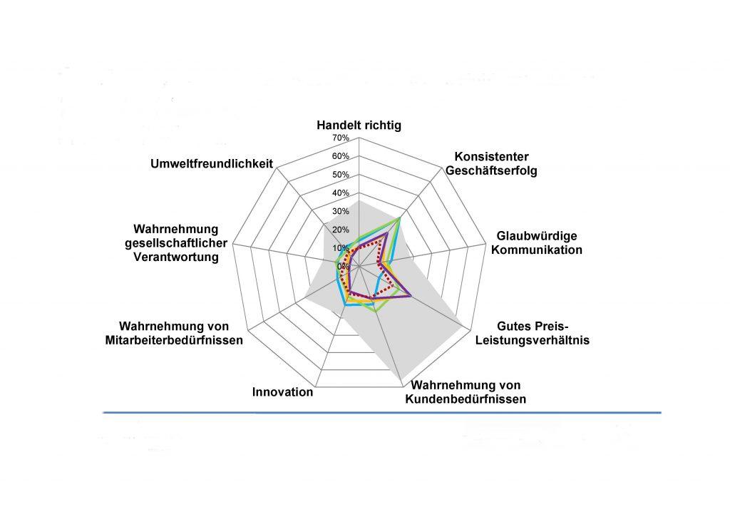 Eine Grafik, die Erwartungen und reale Erfüllung wie ein Spinnennetz anzeigt