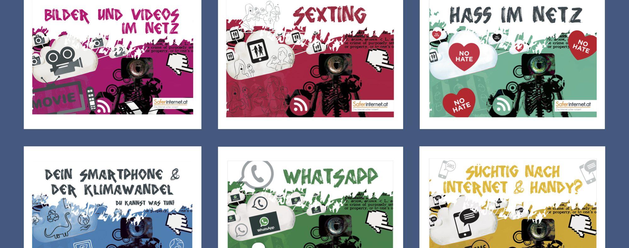 Bunte Flyer für Jugendliche zur sicheren Internetnutzung