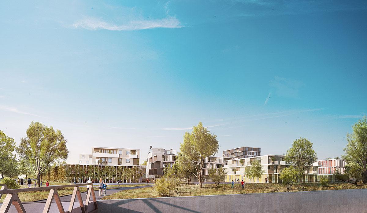 man sieht einen Zeichnung des möglichen Wohnbauprojekts